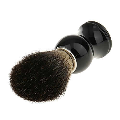MagiDeal Blaireau de Rasage 100% Poils de Blaireau Véritables et Purs à Poignée Noir Plastique Outil Accessoire de Rasage Barbe