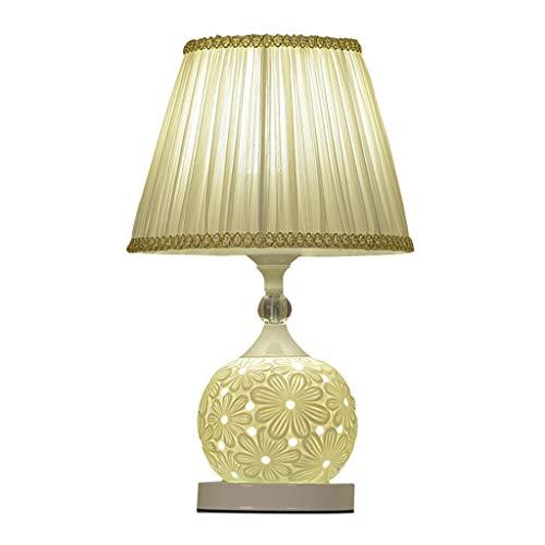 Lámpara de Mesita de Noche Moderna Lámpara de Mesa de Cerámica Dormitorio Romántico Lámpara de Luz de Noche Creativa Tela Rosa Pantalla Cuerpo de Lámpara de Cerámica con enchufe USB Lámpara de Mesa de