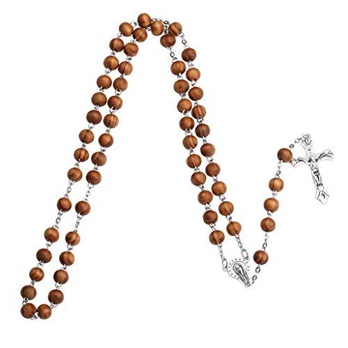 WAHSBAG Moda hecha a mano redonda de cuentas católicas rosario cruz religiosa cuentas de madera hombres collar encanto regalo