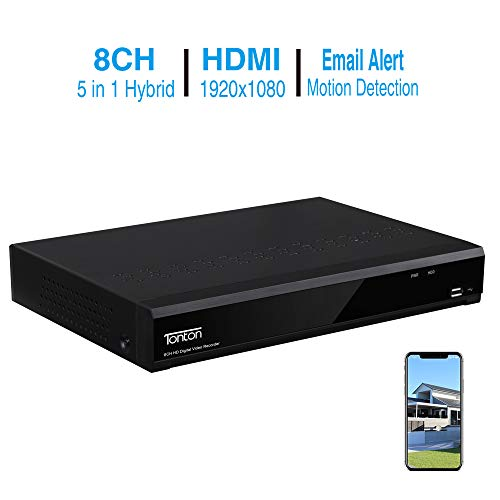 Tonton Full HD 1080P 8 Channel HD-TVI DVR Network Digital Video Recorder Free APP Remote Access,Motion Detection, HDMI VGA Output,5-in-1 DVR:Analog/AHD/TVI/CVI/IP (No HDD Included)