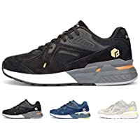 FitVille Men's Running Shoes Sport Sneaker with Mesh Round Toe Solid (Black)
