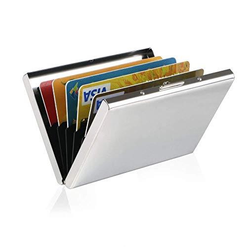 Vicloon Tarjetero para Tarjetas de Crédita/Visita/Monedero, Delgado Portatarjetas Metálico con RFID Bloqueo y 6 Ranuras de PVC, para Hombre y Mujer - Blanco