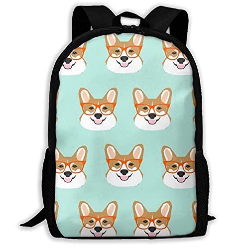 Jupsero Funny Corgi Dogs - Mochila escolar verde menta para niñas adolescentes, mochilas de senderismo, perfectas para viajes de negocios, escapadas de fin de semana, compras, al aire libre