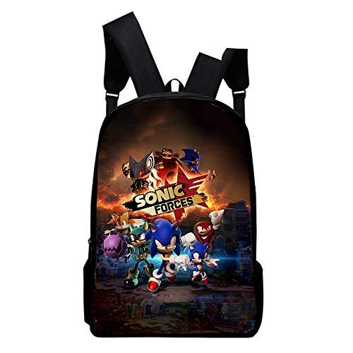 Jungen Mädchen Rucksack 3D Anime Sonic Kinderrucksäcke Schülertasche Kinder College-Stil Studententasche Oxford-Stoff Coole Mode Student Daypack Backpack
