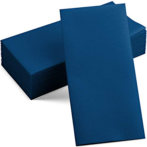 100 Linen-Feel Colored Paper Napkins - Decorative Cloth-Like Dark Blue Dinner Napkins - Soft And Absorbent. For Kitchen, Party, Wedding, Bathroom Or Any Occasion. (Pack of 100)