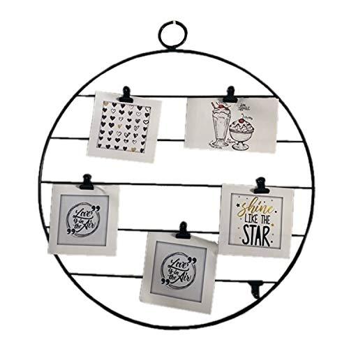 Rejilla o marco de foto de Pared, panel de metal como accesorio decorativo, negro y blanco, en forma de corazón o redondo con pinzas, portafotos o marcos de fotos múltiples (Negro Redondo)