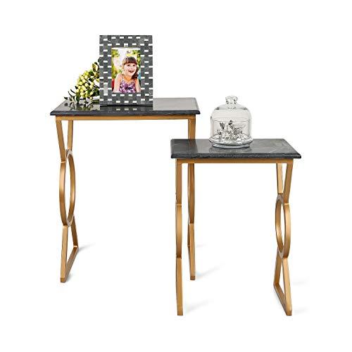 Penguin Home 3317 Mesas de café con Tapa de mármol Negro Marco de Acero de Hierro Pintado de Oro, Piedra, Dorado y Pizarra, pequeño, 33 X24 X44 cm