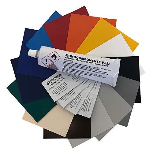 Abdeckhauben-Shop.de Reparatur - Set für LKW-Planen | Abschnitt in 100x100cm | Flickengröße selber bestimmen | Einfach zuschneiden & aufkleben | 14 Farben zur Auswahl (Lichtgrau, 100x100cm)