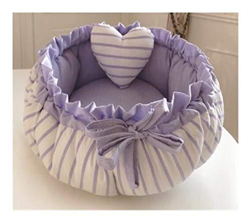 Chenils YSJ LTD Princess Sweety Pet Dog Cat Bed kussen huis kennel pennen sofa met kussen verwarmen slaapzak, 1 stuk, M 50cm, Purple stripes