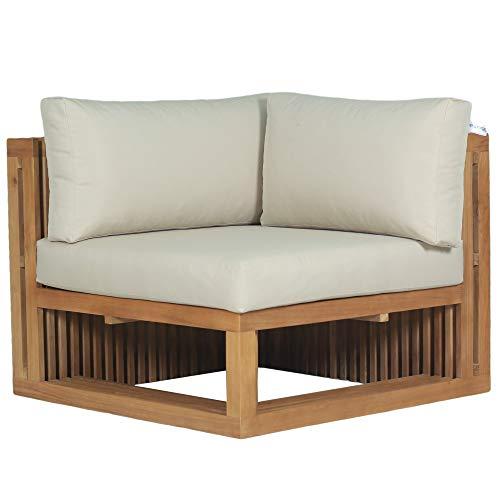 Teako Design Lounge Sofa Loppio Eckteil Teakholz robust mit Auflagen Wetterfest unbehandeltes Massivholz Gartenlounge