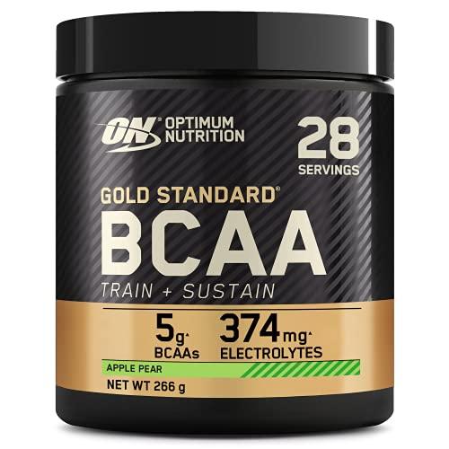Optimum Nutrition Gold Standard BCAA, Acides Aminés en Poudre, Complément Alimentaire avec Vitamine C, Zinc, Magnésium et Électrolytes, Saveur Pomme Poire, 28 Portions, 266g, l'Emballage Peut Varier
