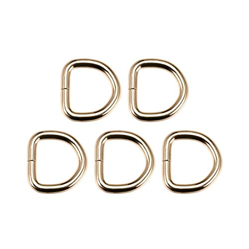 DyniLao 5pcs Metal D-Ring 0.8'(20mm) D-Buckle Buckles for Hardware Bags Belts DIY Crafts Accessories Gold Tone