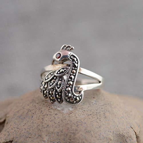 WOZUIMEI Chinesischer Stil Ring Schmuck S925 Sterling Silber Ring Antik Thai Silber Ring Weibliche Mode Pfau Eingelegt Markasit Silber RingRing, 18.5