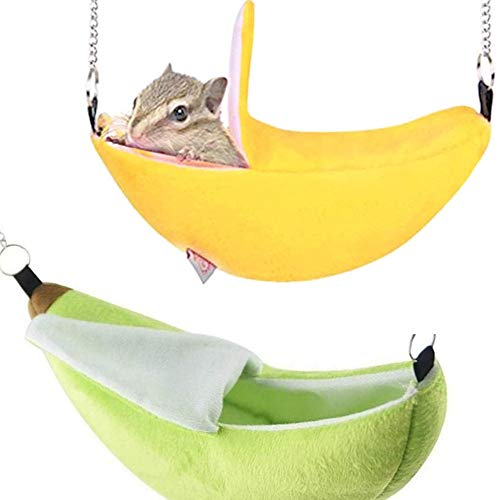 N\A 2 Pieces Swing Hamster Hammock Bed House Banana Pet Cag Yellow And Green Cotton Cage for Small Animal