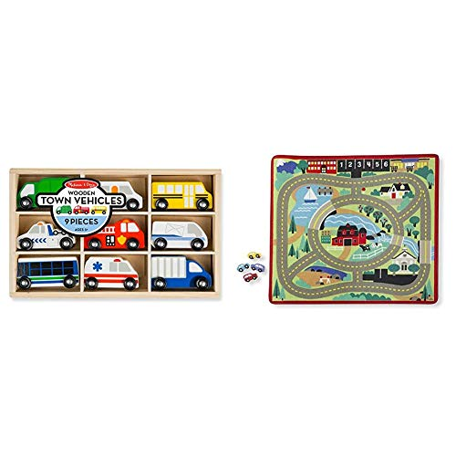 Melissa & Doug Wooden Town Vehicles & Round The Town Road Rug