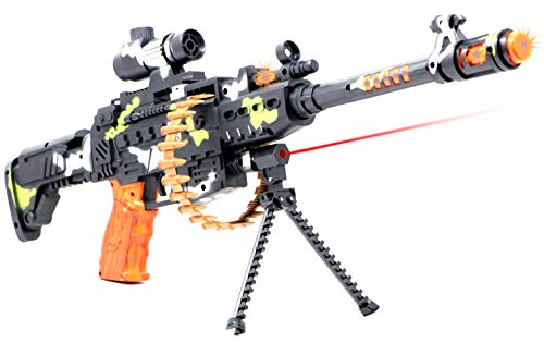 """Zest 4 Toyz 25"""" Musical Army Style Toy Gun for Kids with Music, Lights and Laser Light (Multi-Color)"""