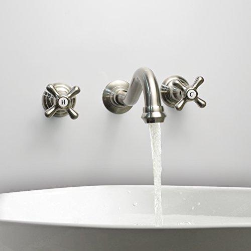 LightInTheBox Modern Bathroom Sink Faucet Wall Mount bathtub faucets Cross 2 Handles Long Curve Spout Faucet Vessel Sink Bath faucet
