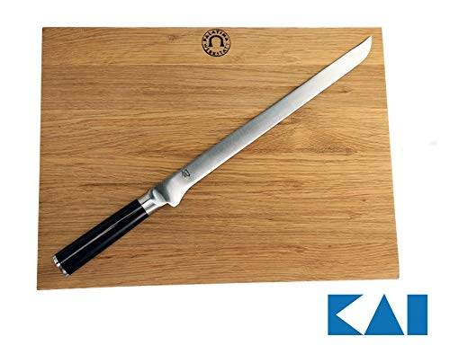 Kai Shun Classic - Juego de cuchillos Jamonero (hoja de 30 cm) con tabla de cortar grande de roble (40 x 30 cm)