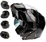 3GO Helmets 3GO E335 Cara completa Moto CRASH MODULAR ECE Aprobado RACING Moto VISOR DOBLE HOMBRE MUJER NEGRO BRILLANTE (S (55-56 CM)), 6 3/4-6 7/8