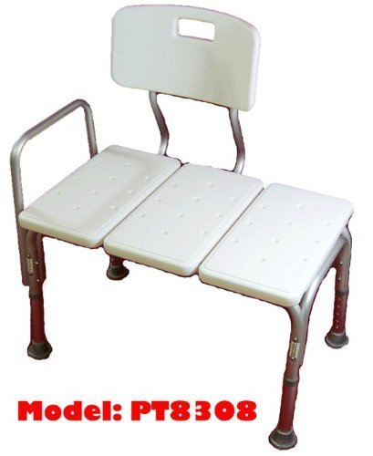 MedMobile® Bathtub Transfer Bench/Bath Chair with Back, Wide SEAT, Adjustable SEAT Height, Sure-GRIPED Legs, Lightweight, Durable, Rust-Resistant Shower Bench