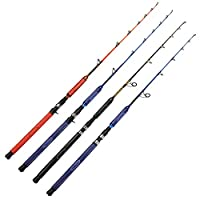 Fiblink 1-Piece Jigging Spinning & Casting Rod Deep Sea Speed Fishing Rod Saltwater Jig Pole with SuperPolymer Handle (30-50lb/50-80lb, 5-Feet 6-Inch) (Blue-Spinning 30-50lb)