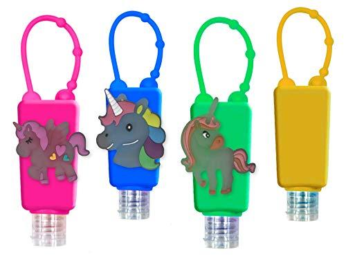 Set Bottiglie Ricaricabili per Bambini Scuola Disinfettanti Per le Mani, con custodia in silicone, 30 ml (Glow in the dark Unicorns)