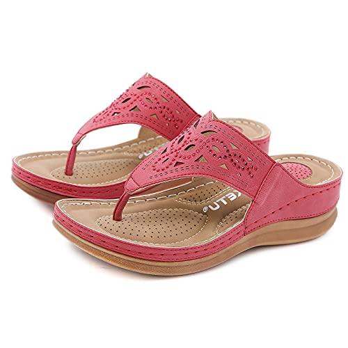 Erocalli Women's Vintage Cut-outs Clip Toe Wedges Flip Flops Fashion Sandals Anti-skid Platform Beach Causal Slippers