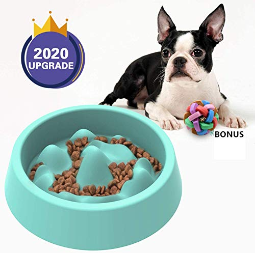 Dimgogo Slow Feeder Dog Bowls Dog Food Bowl Slow Eating Dog Bowl Interactive Bloat Stop Dog Bowls Non Slip Puzzle Bowl Preventing Choking Healthy Dogs Cats Bowl Come with Free Puppy Dog Chew Toys