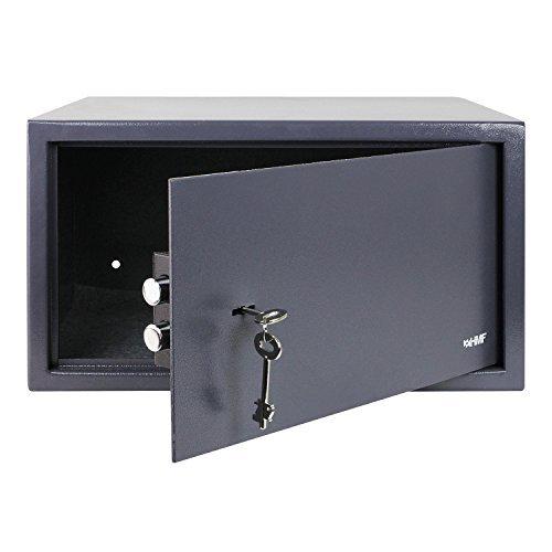 HMF 49204-11 Tresor passend für Laptop und Ordner, Möbeltresor Doppelbartschloss, 45,0 x 25,0 x 36,5 cm, anthrazit