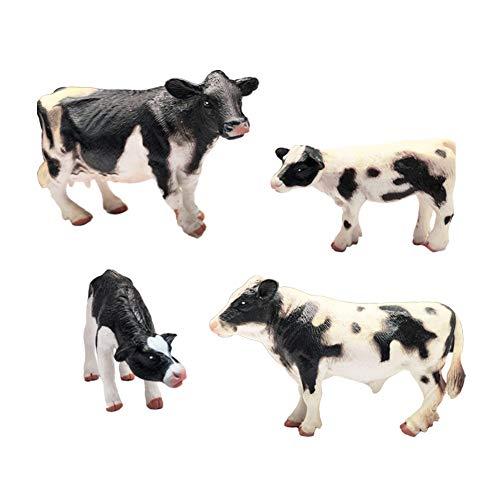 DOYIFun Realistic Farm Cow Model Figures Toy Set, 4pcs Farm Cow Family Figurines Collection Playset, Farm Meadows Pasture Cow Statues Preschool Educational Learn Cognitive Toys