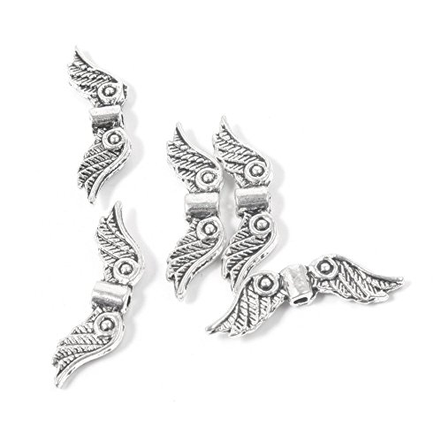 Zuoyou 50 pcs 20mm Angel Wing Spacer Metal Beads DIY for Bracelets Necklace Silver