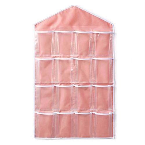 cottonlilac 16 Taschen frei über Tür Hängetasche Kleiderbügel Aufbewahrung Ordentlicher Organizer Für Zuhause Badezimmer Wohnzimmer Haushalt Kleinigkeiten - Pink