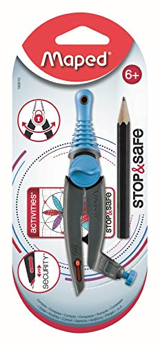 Maped - Compas Stop & Safe - Compas avec Système de sécurité automatique - Compas Dès 6 ans - Compas bague avec Mini Crayon à Papier + Livret Rosaces - Coloris Aléatoire