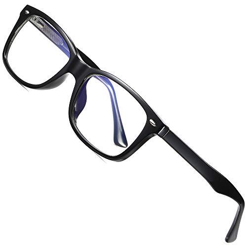 ATTCL Gafas de luz azul Hombres Mujeres de Bloqueo de Luz Azul Lentes Antirreflejos Gafas de Ligero TR90 Marco 2008 Black
