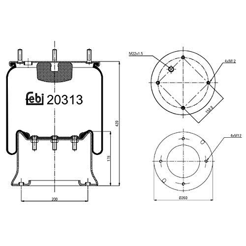 Febi-Bilstein 20313 Fuelle, suspensión neumática