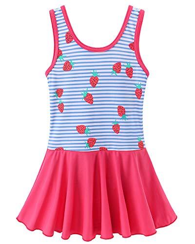 BAOHULU Toddler Girls Swimsuit One Piece Cute Floral Dress Swimwear 3-8 Years S283_StrawberryBlue_104/110