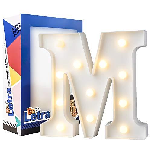 DON LETRA Letras Luminosas Decorativas con Luces LED, Letras del Alfabeto A-Z, Altura de 22cm, Color Blanco - Letra M