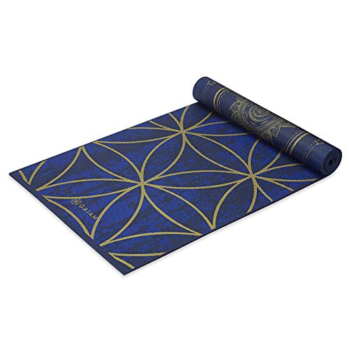 Gaiam Yoga Mat Premium Print Reversible Extra Thick Non Slip Exercise amp Fitness Mat for All Types of Yoga Pilates amp Floor Workouts Metallic Sun amp Moon 6mm