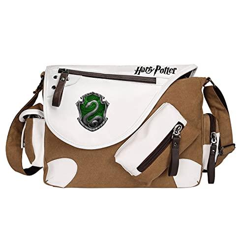 QLma Bolso de escuela de Harry Potter Bolso de hombro de viaje de ocio Bolso de mensajero de lona Bolso de libro 35x26x11cm Marrón-S