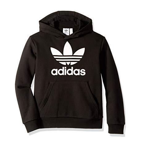 adidas Originals unisex-youth Trefoil Hoodie Black/White Medium