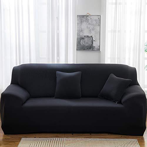 QLWY Sofabezug Sofaüberwurf, Antirutsch Stretch Sofaüberzug, weich Farbechtfür Sofa Möbelschutz, Stoff Spandex Jacquard (90-140cm,Black)