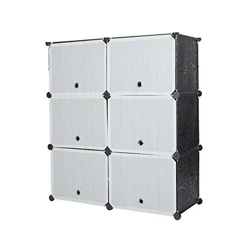 Dioche Zapatero, 6 cubos, organizador de zapatos portátil, torre para manualidades, zapatero, estantes modulares para ahorrar espacio, impermeable, organizador de plástico