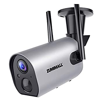 Outdoor Security Camera Wireless WiFi ZUMIMALL Rechargeable Battery Powered Home Security Camera with Mobile App Night Vision/Waterproof Human Motion Detection 2-Way Audio 4DBi Antenna Cloud/SD