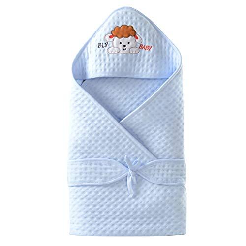 Happy Cherry Nid d'ange Nouveau-né Bébé Couverture d'emmaillotage à Capuche Coton Légère Gigoteuse Unisex Sac de Couchage pour Enfant Fille Garçon 0-6 mois Taille 90 * 90cm Bleu