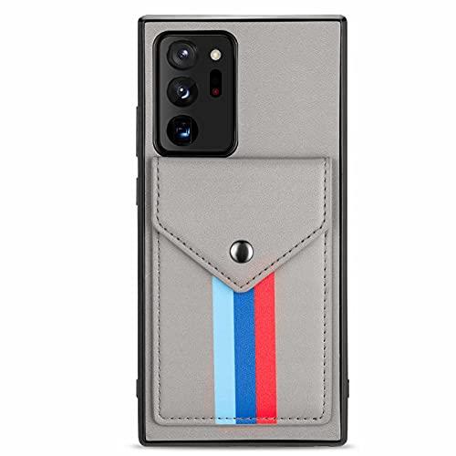 TYWZ Kartenhalter Hülle für Samsung Galaxy Note 20 Ultra,Necklace Cover mit Band PU Leder Crossbody Halsketten Umhängeband Riemen Lanyard Handyhülle-Grau