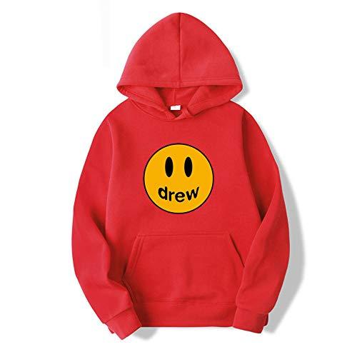 Sweatjacke Pullover Hoodie Drew Smiley Face Letter Druck Justin Bieber Hoodie Sweatshirt Harajuku Hip Hop Street Hoodie-Rot_XXL