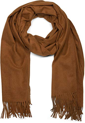 styleBREAKER Unisex weicher uni Schal mit Fransen, Winter, Stola, Tuch 01017104, Farbe:Cognac