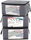 ABO Gear G01 Bins Bags Closet Organizers Sweater Clothes Storage Containers, 3pc Pack, Gray, 3 Count