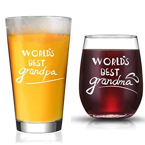JERIO Grandparents Gifts New Grandparents Pregnancy Announcement World's Best Grandpa Beer Glass World's Best Grandma Wine Glass