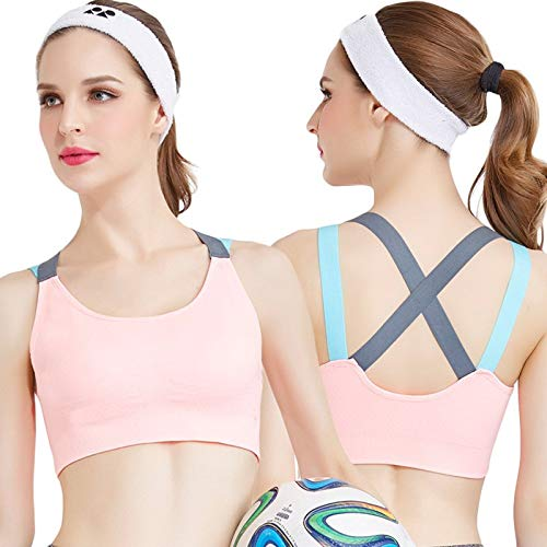 ALBATROZ Fitness Yoga Push up Light Orange Sports Bra for Womens Gym Running Padded Tank Top Athletic Vest Underwear Shockproof Strappy Sport Bra Top - Free Size Fit to 30-36